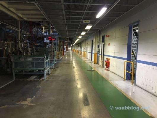 Pasillos largos en la antigua fábrica de Saab