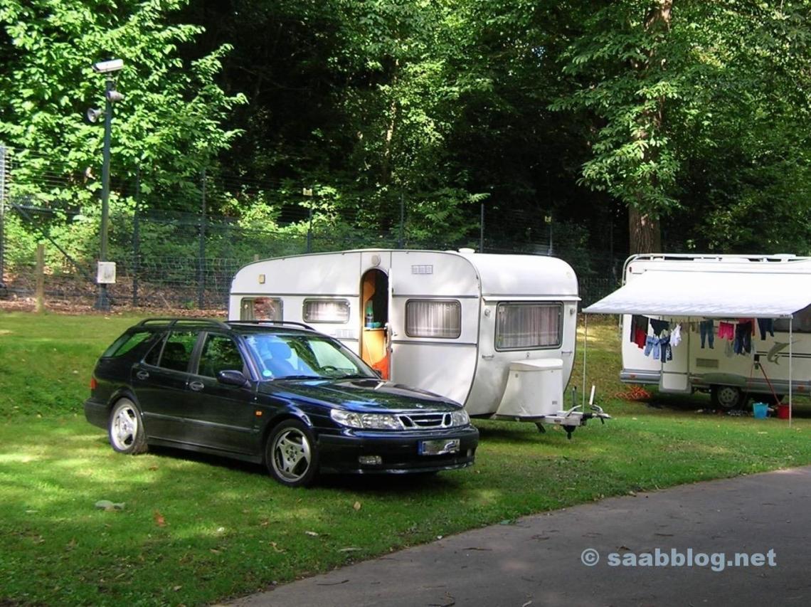 Saab 9 5 Aero. På en campingplats nära London