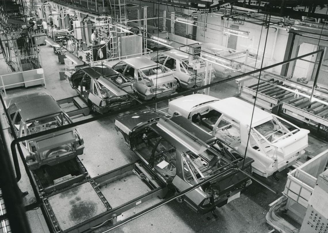 Saab 9000 Produktion. Bild: Saab Automobile AB