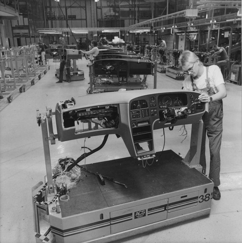 Saab 9000 produção. O painel que pré-montamos.