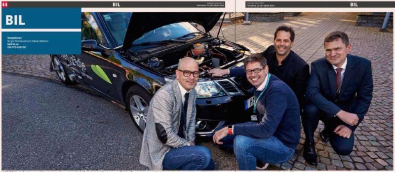 Martin De la Vega, batteriutveckling, Hans-Martin Duringhof, Elektroandrev, Christian Bromander, elektriska och mekaniska arkitektur Michel Annink, mobilitetslösningar. Fotokredit: Bo Håkansson / DI / NEVS