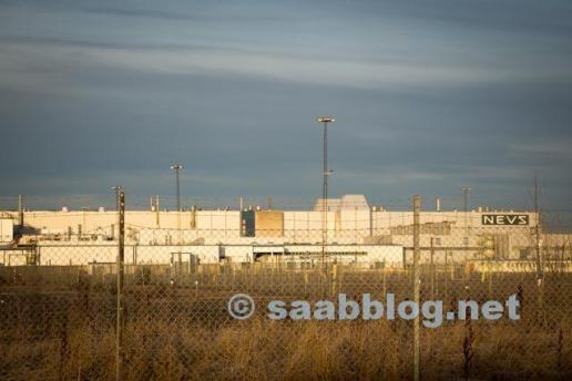 Das frühere Saab Werk in der Wintersonne...