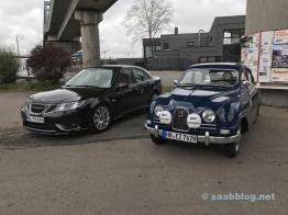 Saab Drömbils an der Oldie Tanke