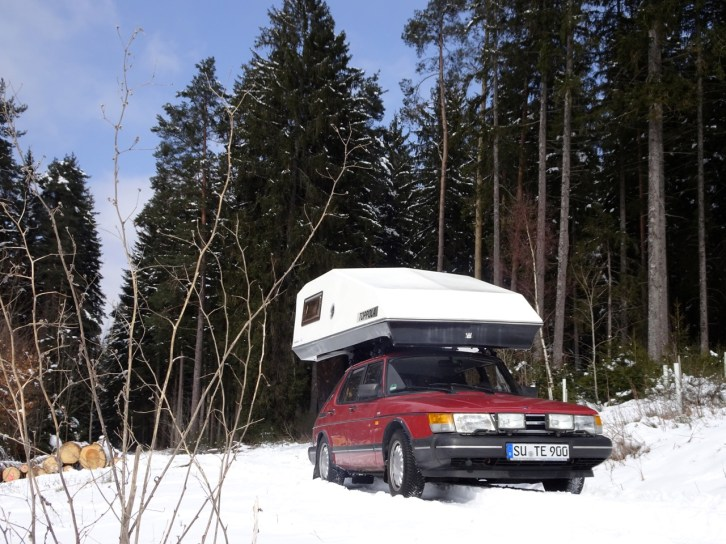 Wintercamping? Mit einem Saab kein Problem. Foto von Thorsten.