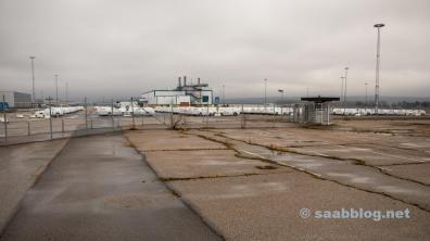 ... park på den gamla Saab fabriken.