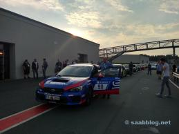 Ralf Muckelbauer and the WRX STI in the pit lane