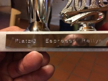 Congratulations: 3. Place on the espresso rally for Saab. Image: Robert Wagenheimer