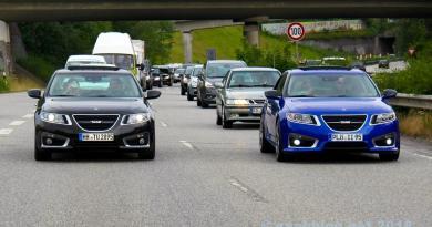 Allt Saab? 9-5 NG på stadens motorväg i Kiel