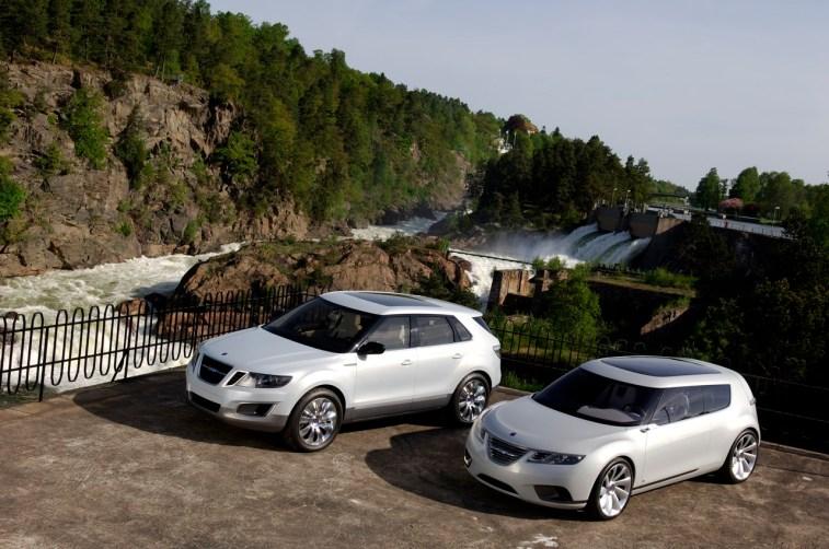 Saab 9-4X BioHybrid und 9-X BioHybrid Concept an den Wasserfällen in Trollhättan
