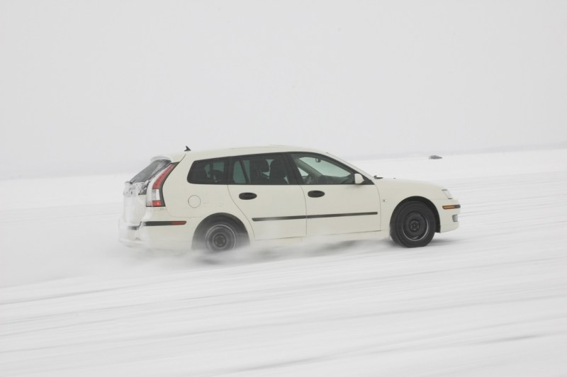 Our motif for the month of January 2019. The Saab 9-3 sports car on winter testing.