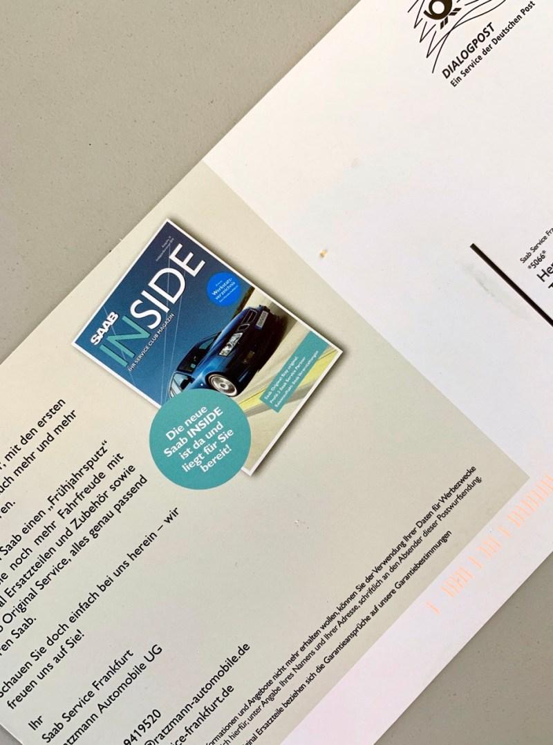 Eine Postkarte von Saab Service Frankfurt