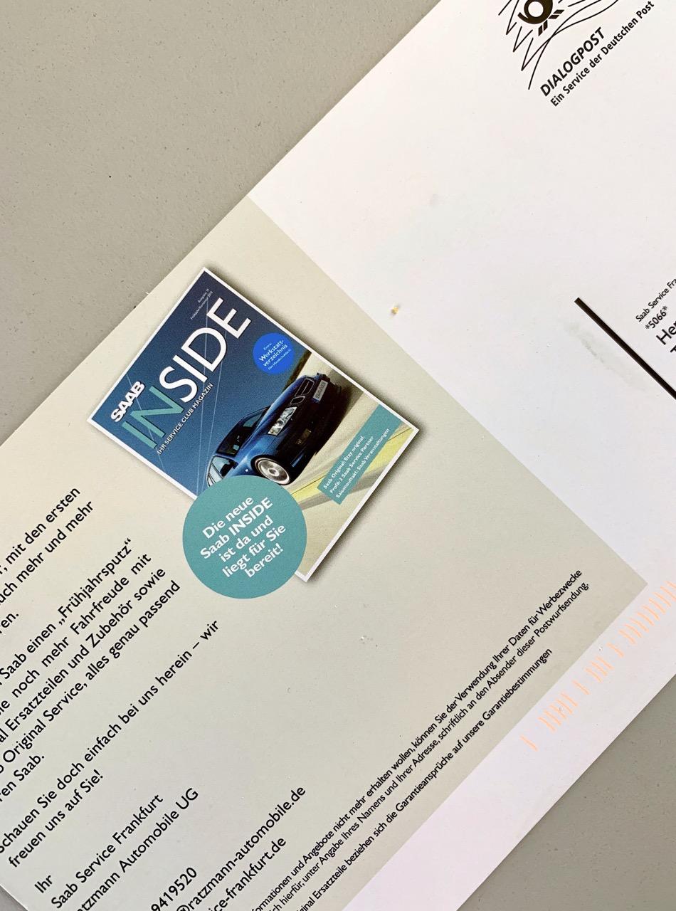 Um cartão postal da Saab Service Frankfurt