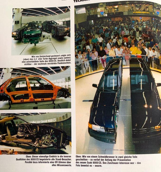 1991 celebra o 9000 CS na estreia de Frankfurt. A revista Saab Euro mostra o espetacular modelo de corte