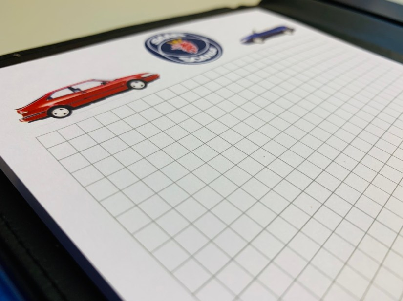 Saab folder and blog with Saab-Scania logo
