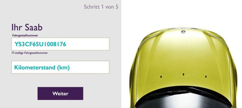 La oferta digital es fácil de usar. Saab VIN plus ingrese el kilometraje.