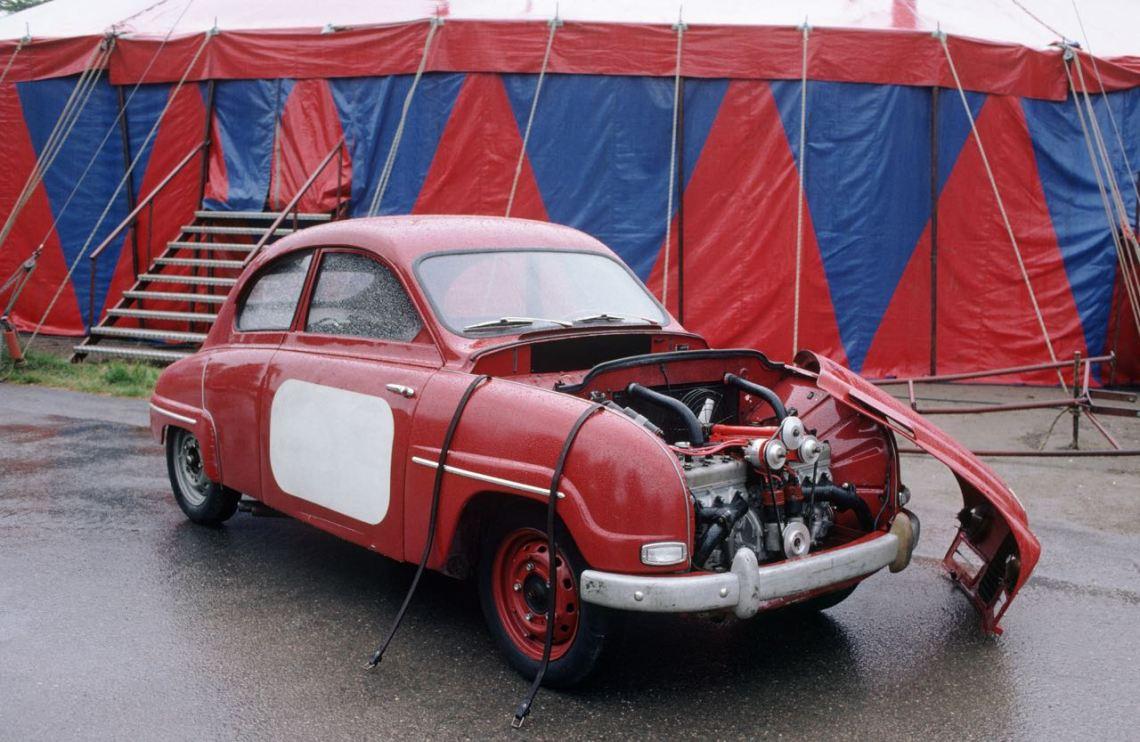 Het Saab-monster. De eerste poging met een zescilinder, die bestaat uit twee 3-cilindermotoren. Nooit in serie gegaan