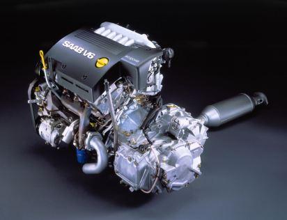 Er staat Saab, maar in werkelijkheid is het een GM-motor van Ellesmere Port / Engeland