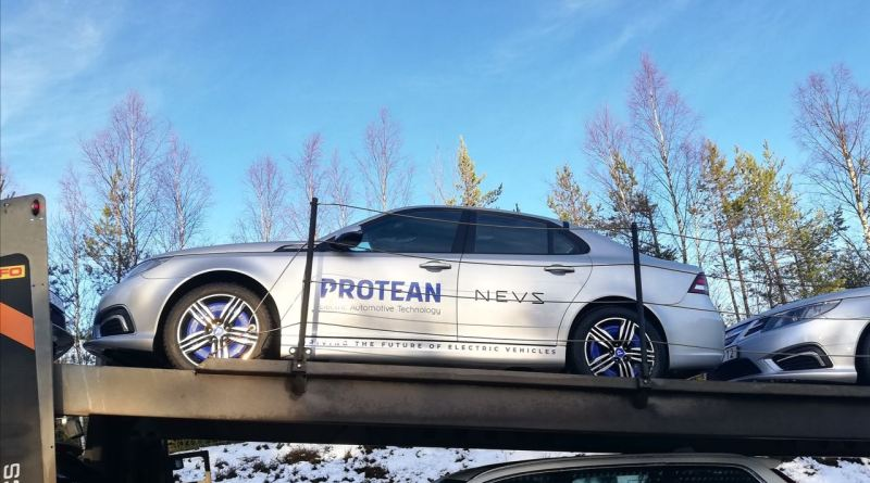 NEVS 9-3 electric car with wheel hub motors from Protean