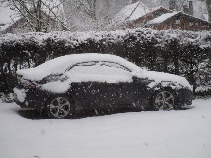 Jürgen's Turbo X ligt goed gesneeuwd in de buurt van Wolfsburg