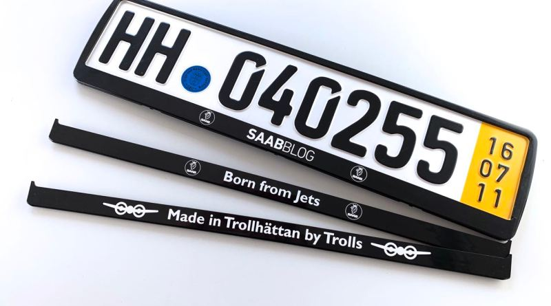 Saab license plate holder. Which design is wanted?