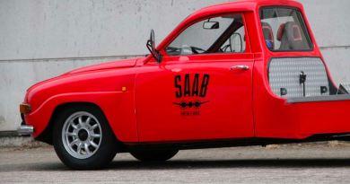 Um transportador de carros histórico com estilo? Saab 96 peça única!