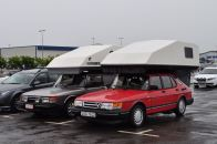 Or campers in the parking lot in front of the factory