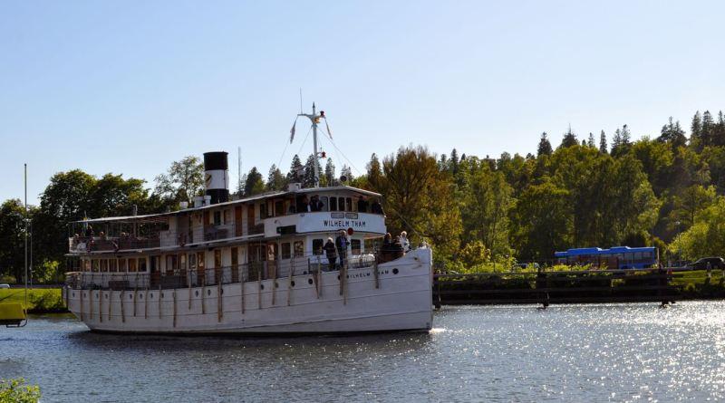 Die Wilhelm Tham auf dem Götakanal bei Trollhättan