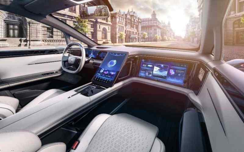 Touchscreen im Auto. EV Prototyp von Human Horizons, Serie für 2021 geplant