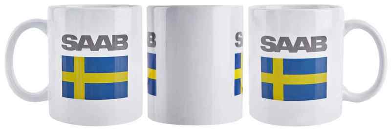 Saab cup with flag and Saab lettering