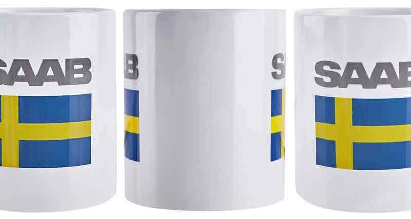 Saab Tasse mit Fahne und Saab Schriftzug