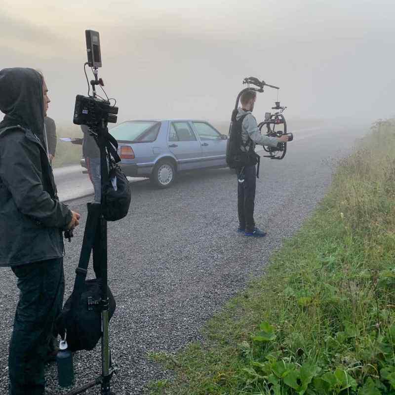 Saab 9000 während der Filmaufnahmen
