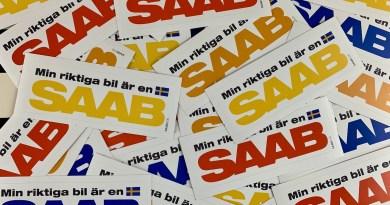 Min riktiga bil är en Saab - las pegatinas están en camino