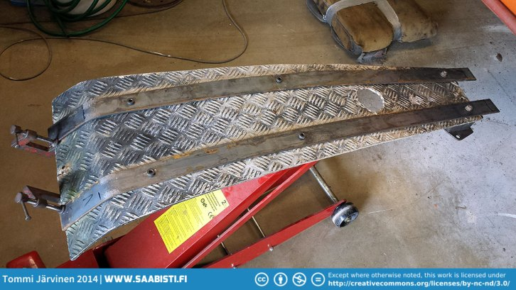 New steel rails made of flat iron stock.