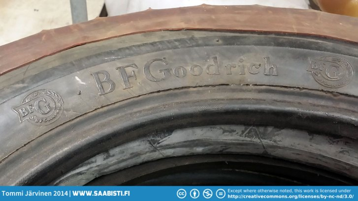 B.F. Goodrich 15-5.20. Narrow tyres give huge grip on ice because of the surface pressure.