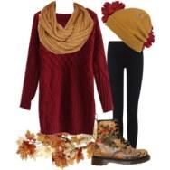 sweater dress and beanie
