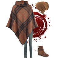 checkered poncho with beanie