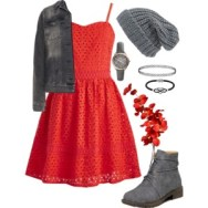 red lace and gray