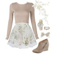 off white floral pleated skirt