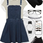 denim overall dress and stripes