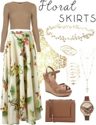 floral skirts - hawaii print and gold