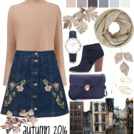 denim embroidered skirt with flare