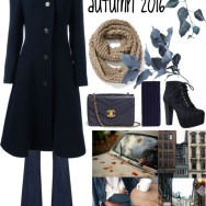 navy overcoat and knitted scarf