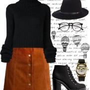 velvet skirt and sweater