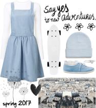 light blue pinafore