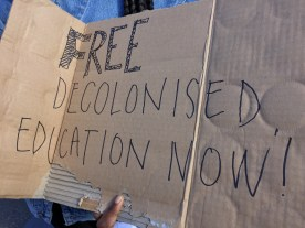 "A UCT student holds a sign calling for ""free decolonised education now"". She was standing outside of Parliament hoping to engage passers-by to further and deepen the debate on free education. PHOTO: Saarah Survé"