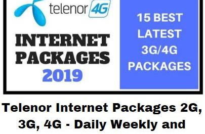 Telenor Internet Packages 2G, 3G, 4G - Daily Weekly and Monthly
