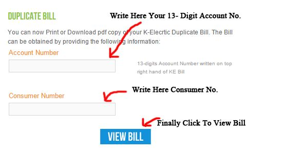 Generate Duplicate KESC Bill Online Free Download  If you don't want to go kesc office to receive your electric bill, you have done this job without any hesitation. Now you can download your electricity bill of KESC and print it easily.  Click here to View and Download KESC Duplicate Bill  First of all, you should find 13 digit reference Account No on Any Previous Electricity bill and then open above Link. Enter your full digit account then consumer number and click on View bill. you will view duplicate kesc bill and also you can download bill also from the page.