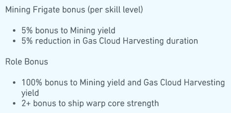 Image shows the traits of the Venture a mining frigate in Eve Online.