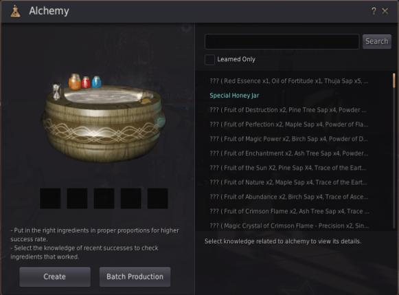 Экран алхимии в bdo, здесь вы вставляете свои рецепты для алхимии