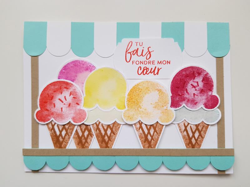 Idée de carte pour le nouveau set de tampons «Douceurs glacées»